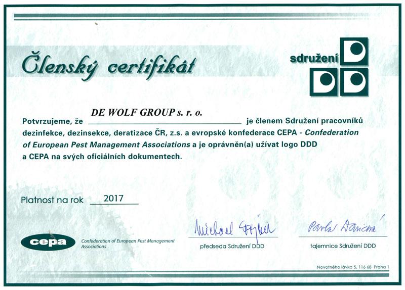 Členský certifikát CEPA - sdružení pracovníků DDD