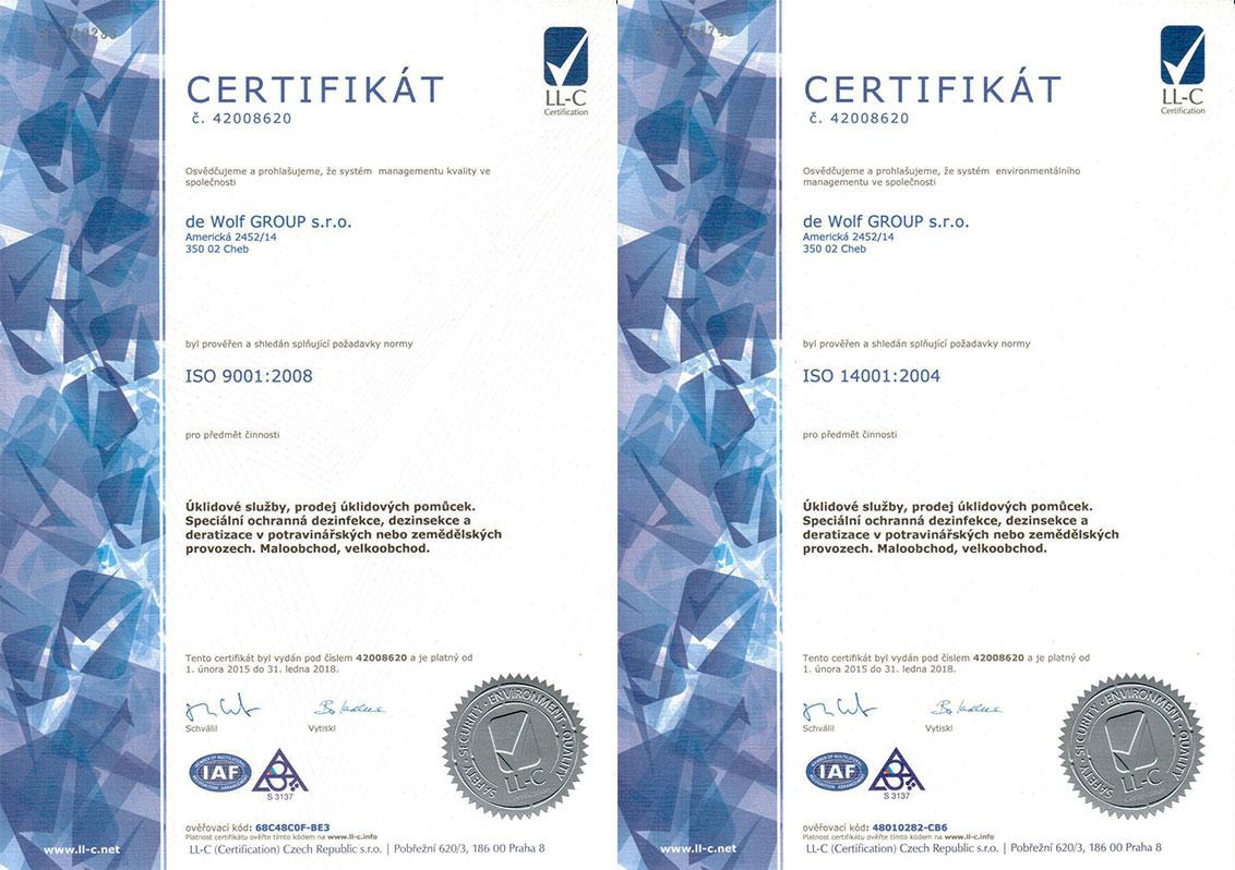 Certifikáty ISO 9001:2008 a ISO 14001:2004 společnosti de Wolf GROUP s.r.o.