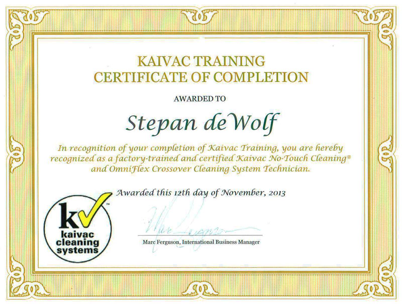 KaiVac Training Certificate of Completion