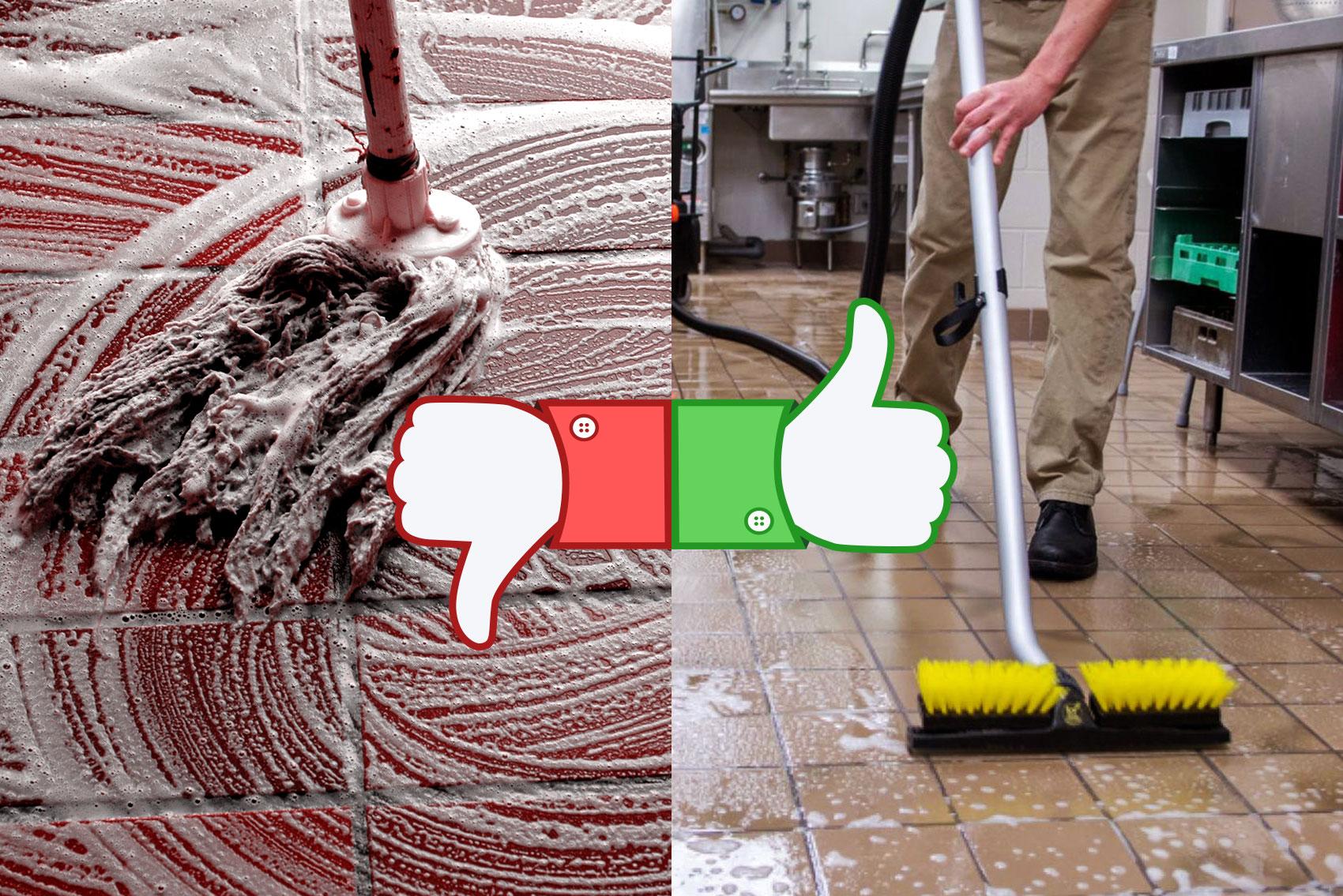 Mop vs úklidový stroj