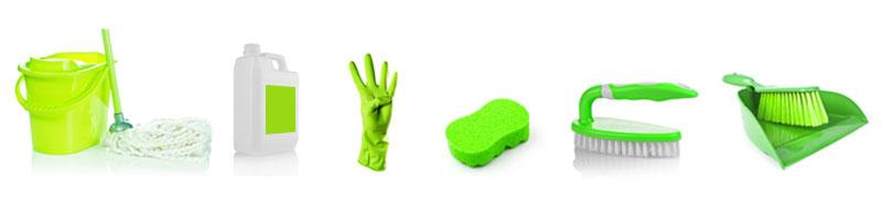 Zelená barva = kuchyňská oblast (kód barevného úklidu)