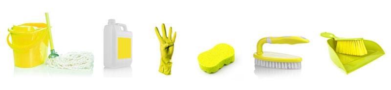 Žlutá barva = umývárenská oblast (kód barevného úklidu)