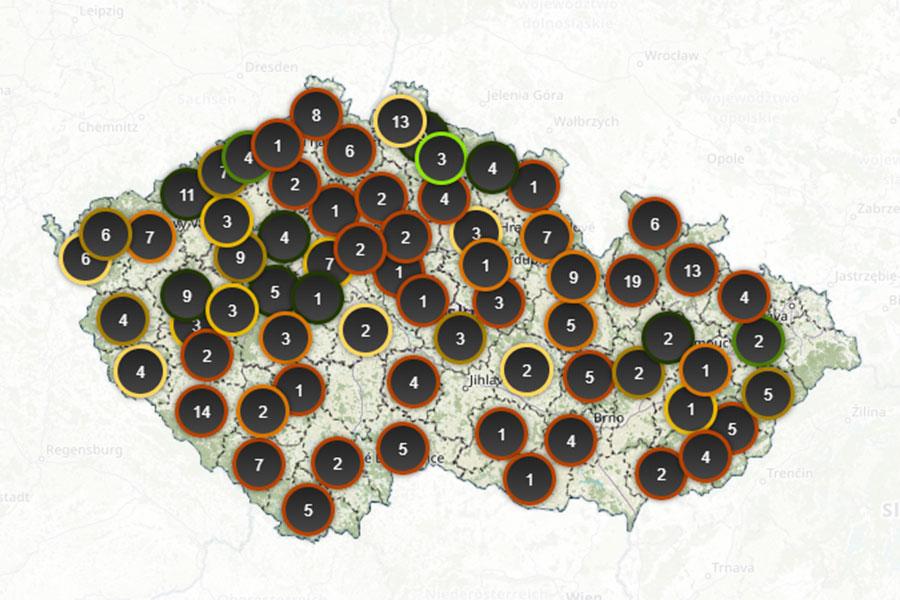 Mapa kůrovce v České republice